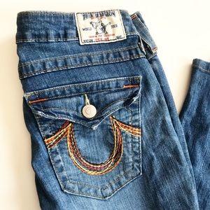 True Religion High Rise Boot Rainbow Pocket Jeans